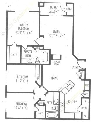 1,304 sq. ft. C2 floor plan