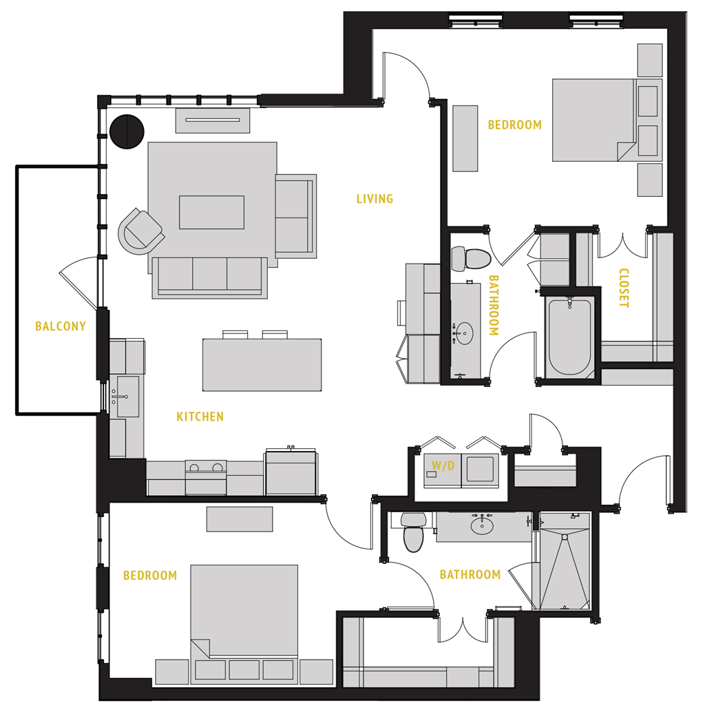 1,364 sq. ft. B2 floor plan