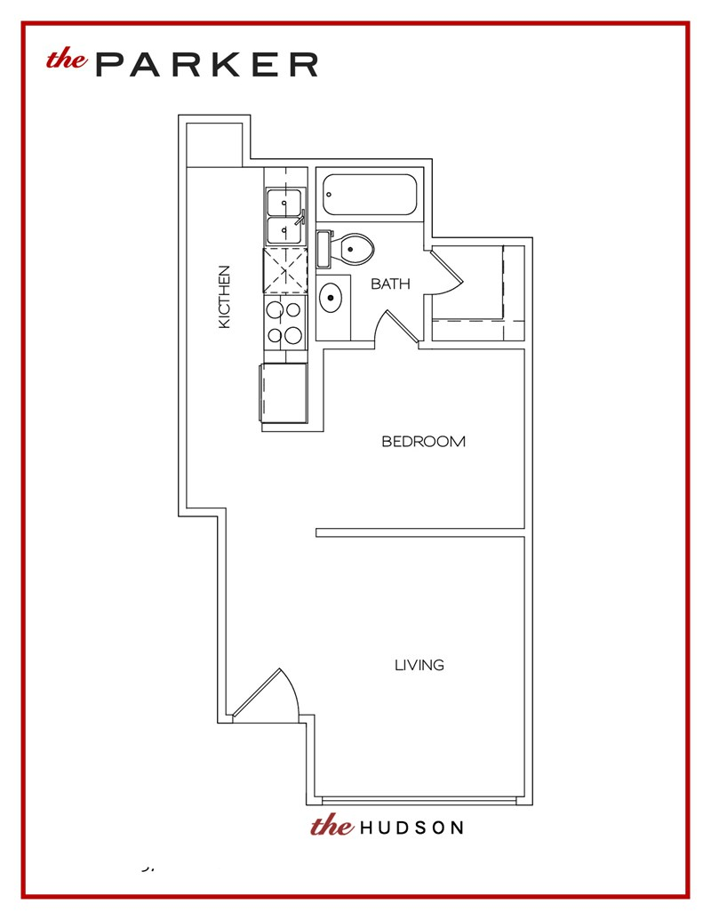 372 sq. ft. Hudson floor plan