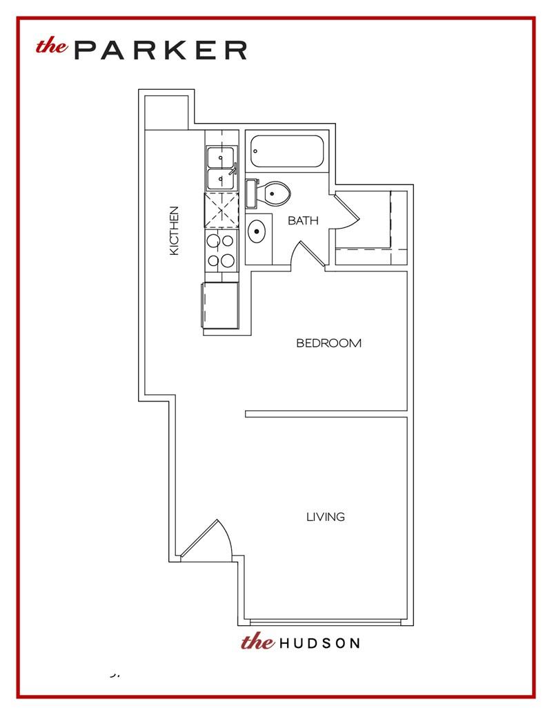 372 sq. ft. Hudson floor plan