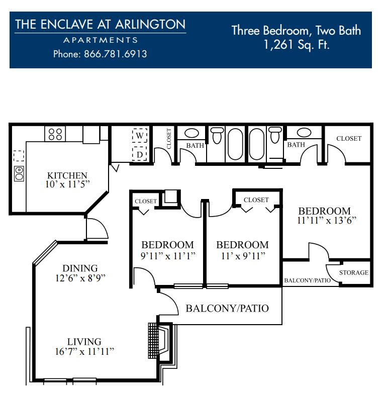 1,261 sq. ft. K floor plan