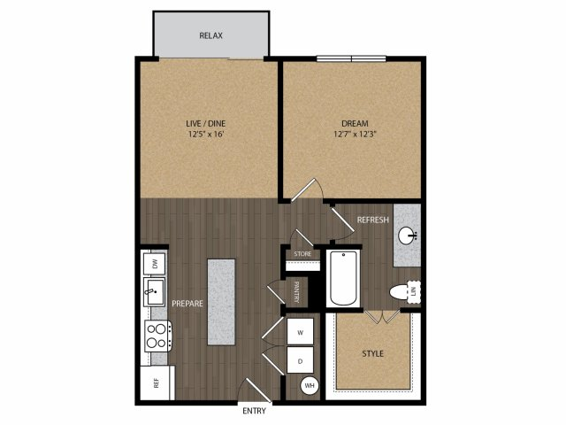 750 sq. ft. Maple A1 floor plan