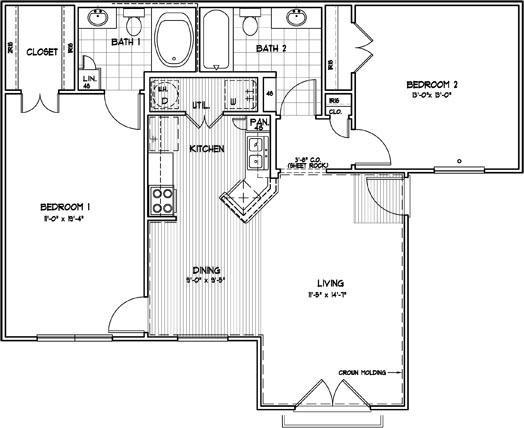 1,063 sq. ft. C2M floor plan