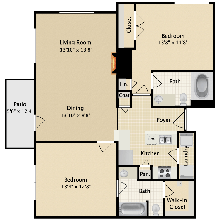 1,099 sq. ft. II B2 floor plan