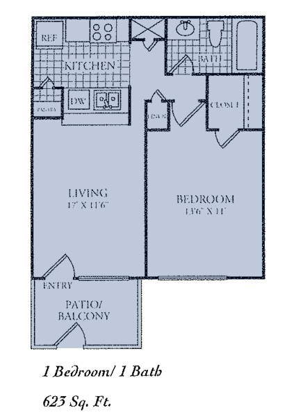 623 sq. ft. A floor plan