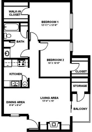 817 sq. ft. E/80% floor plan