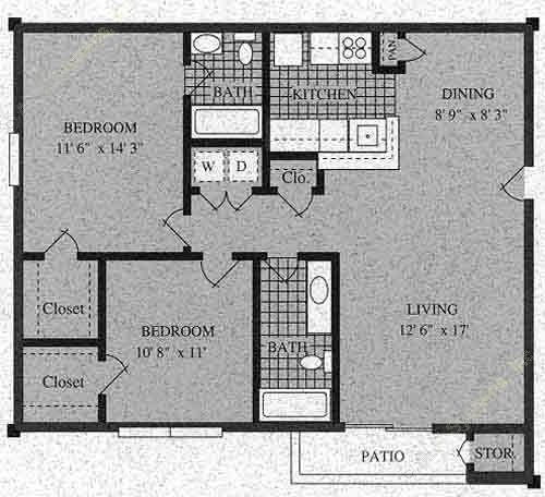 856 sq. ft. G-60% floor plan