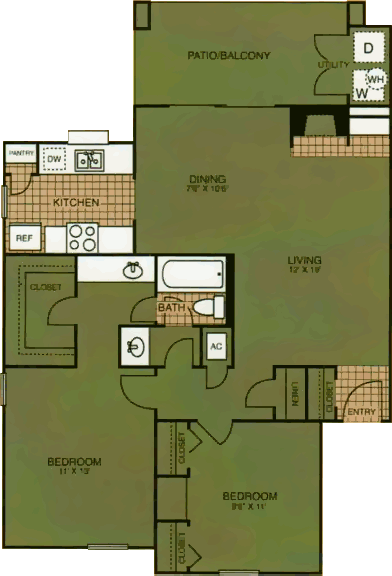 908 sq. ft. Pioneer Trial floor plan