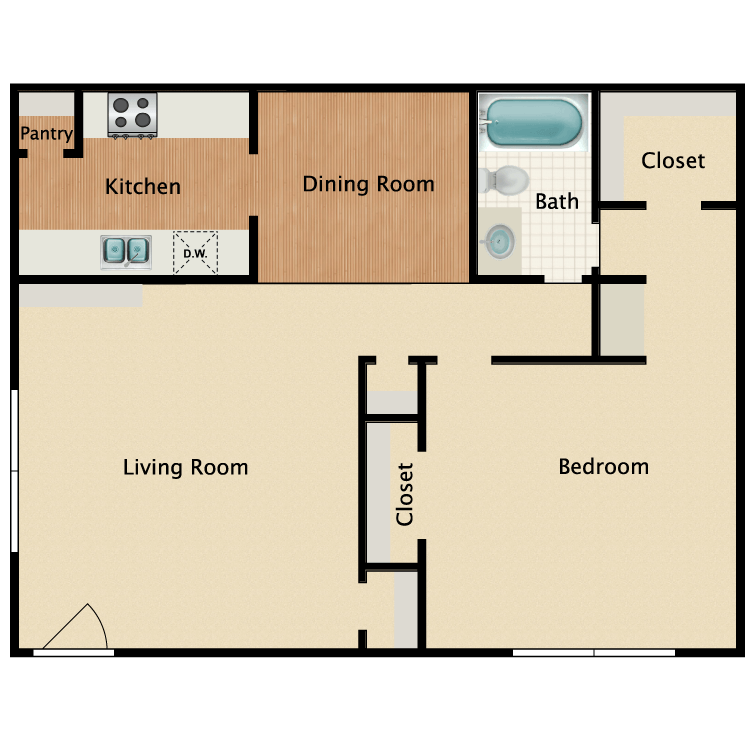787 sq. ft. A3 floor plan