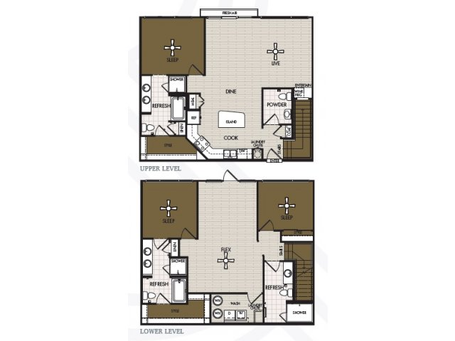 2,103 sq. ft. B3T floor plan