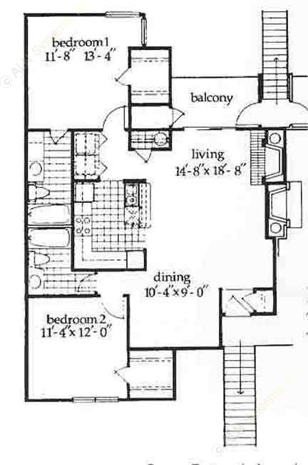 1,050 sq. ft. Edenburg floor plan