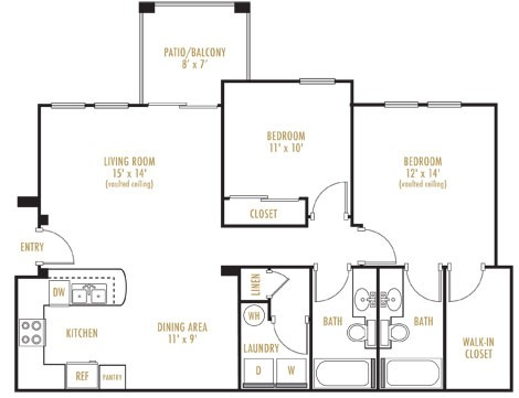 1,150 sq. ft. Monaco Villa floor plan