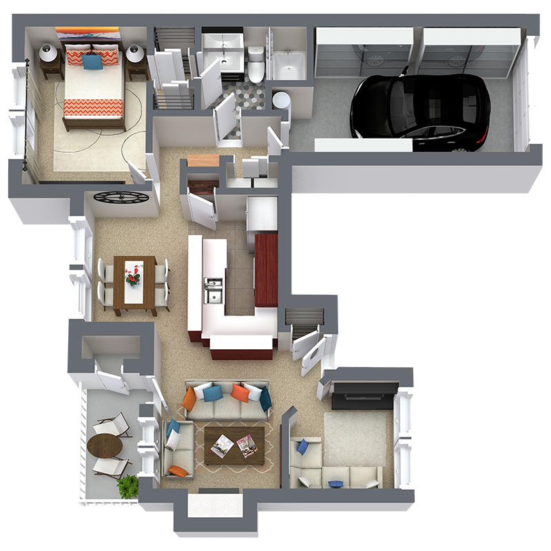 967 sq. ft. A5 floor plan