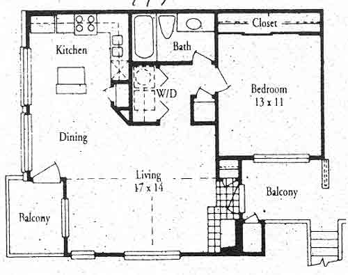 761 sq. ft. A2 floor plan