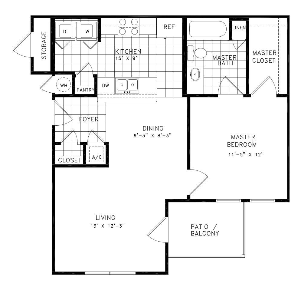 707 sq. ft. Anderson floor plan