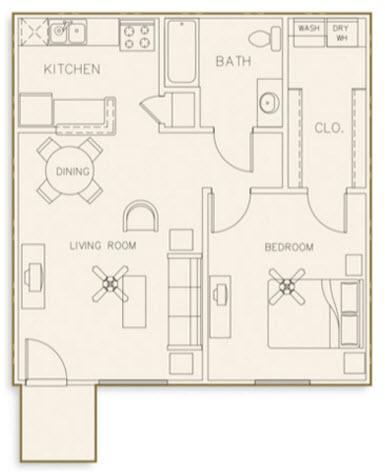 606 sq. ft. 60% floor plan