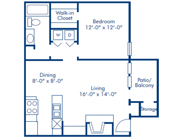 674 sq. ft. B floor plan