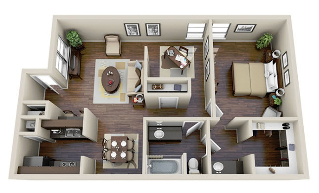 908 sq. ft. A3 floor plan