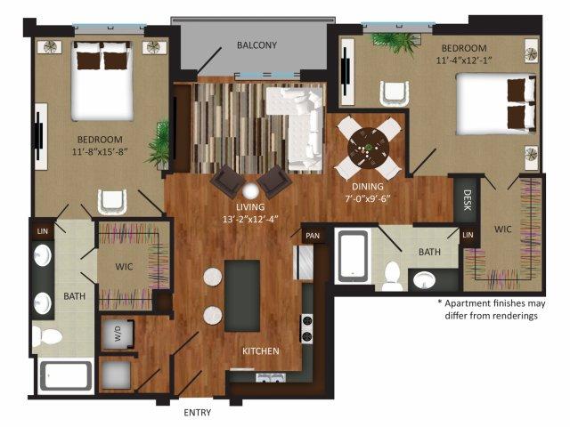1,258 sq. ft. B2 floor plan