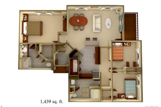 1,439 sq. ft. C1 floor plan