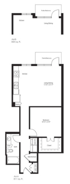 820 sq. ft. A4B floor plan