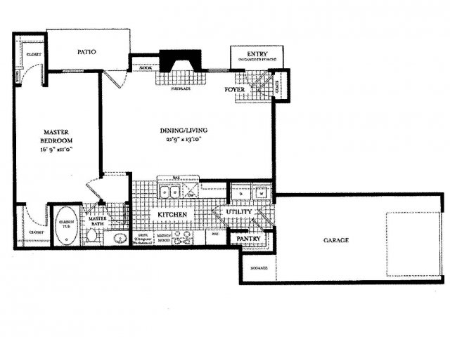 854 sq. ft. Toscanini floor plan