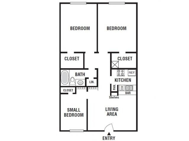 880 sq. ft. 31A floor plan