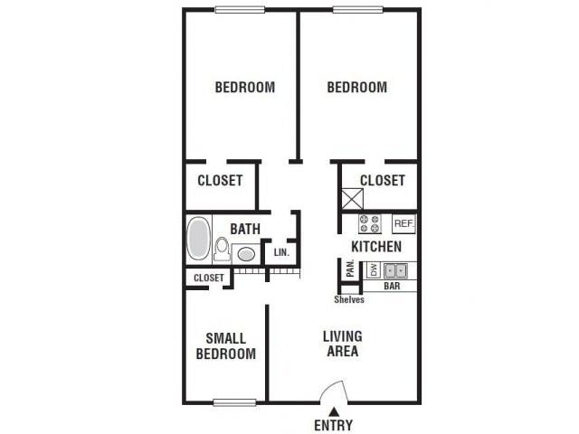 880 sq. ft. 31A/60% floor plan