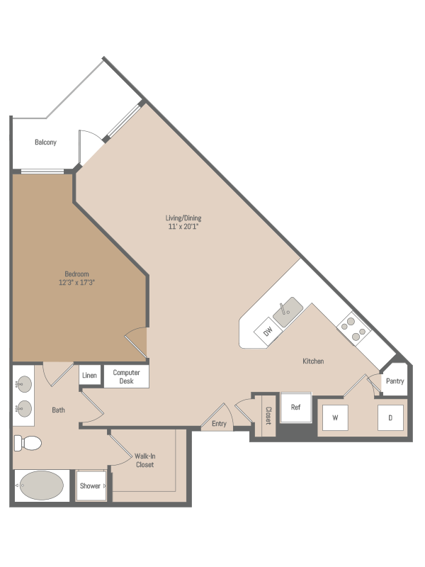 909 sq. ft. A3.1 floor plan