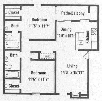 944 sq. ft. B4 floor plan