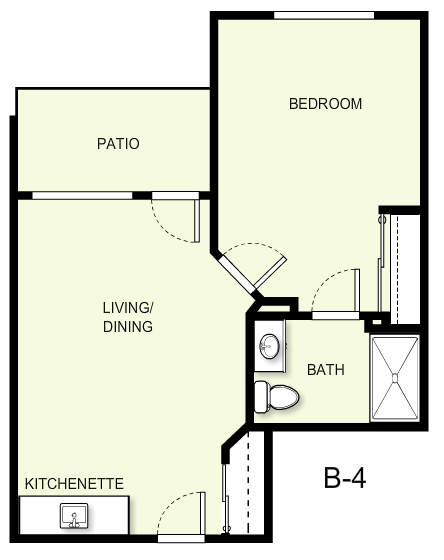564 sq. ft. B4 floor plan