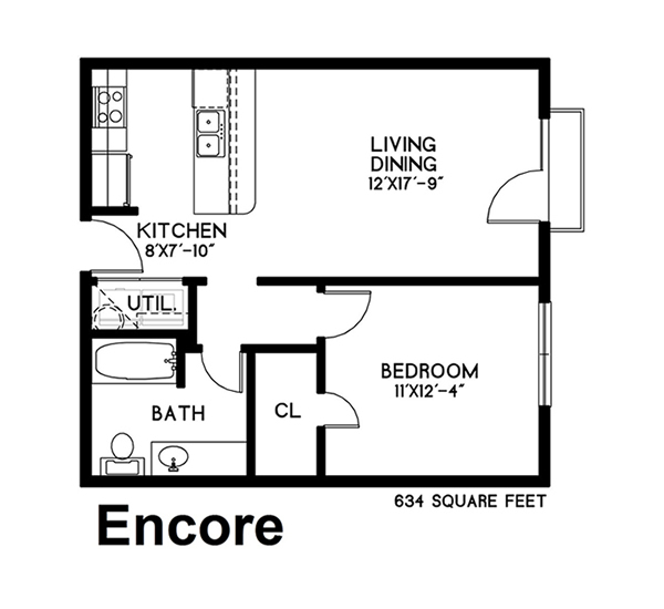 634 sq. ft. Encore floor plan
