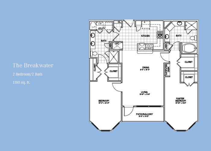 1,180 sq. ft. Breakwater floor plan