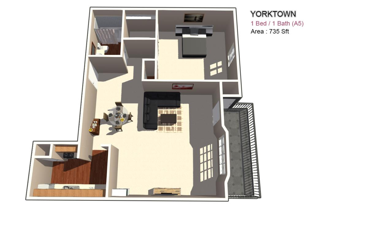 740 sq. ft. 1X1 floor plan