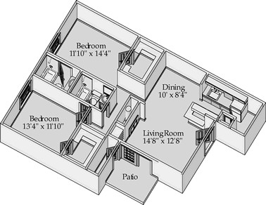 1,011 sq. ft. Tate floor plan