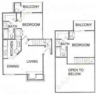 935 sq. ft. B2 floor plan