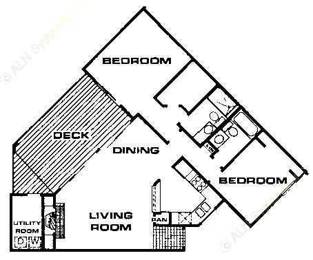 1,042 sq. ft. B3 floor plan
