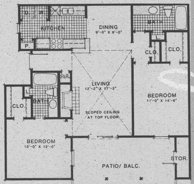 1,058 sq. ft. B4 floor plan