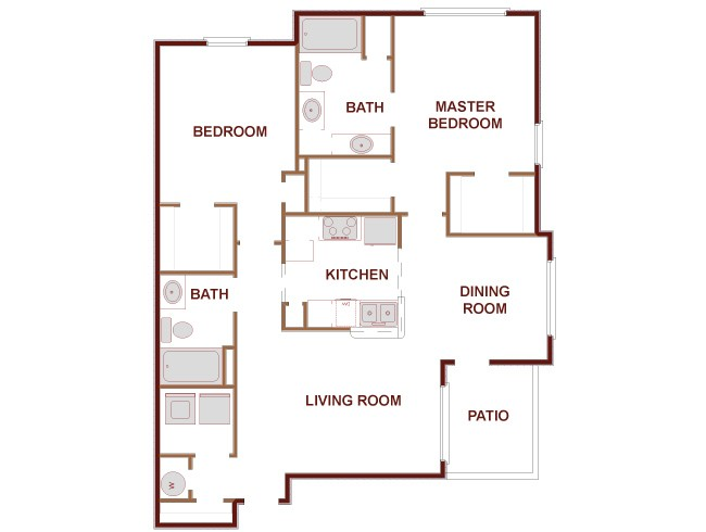 1,144 sq. ft. Wilmington floor plan