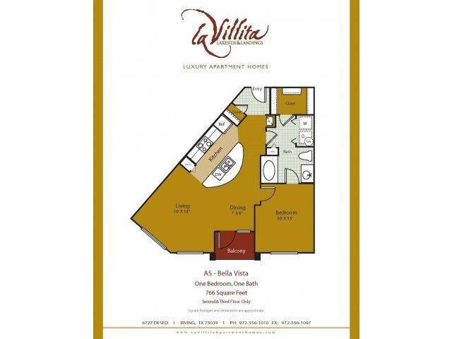 1,008 sq. ft. Bella Vista floor plan