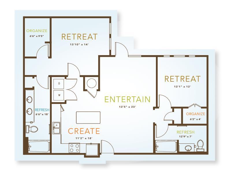 1,170 sq. ft. to 1,172 sq. ft. B3 floor plan
