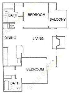 884 sq. ft. B2 floor plan