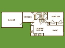 1,005 sq. ft. Bluebonnet floor plan