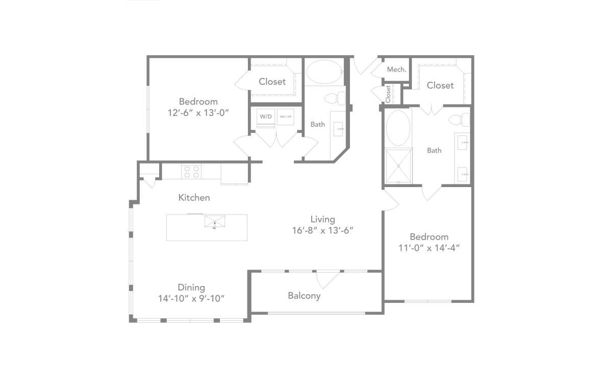 1,311 sq. ft. B3 floor plan