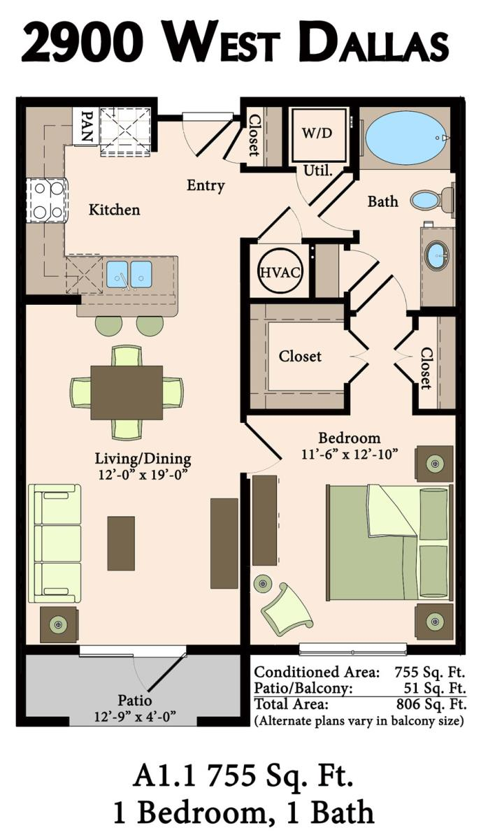 755 sq. ft. A1.1,A1.1B,A1.2 floor plan