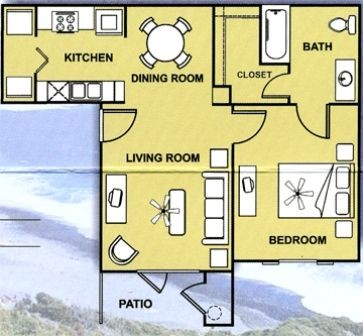 688 sq. ft. 60% floor plan