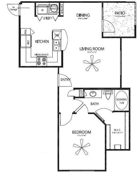742 sq. ft. El Paso floor plan