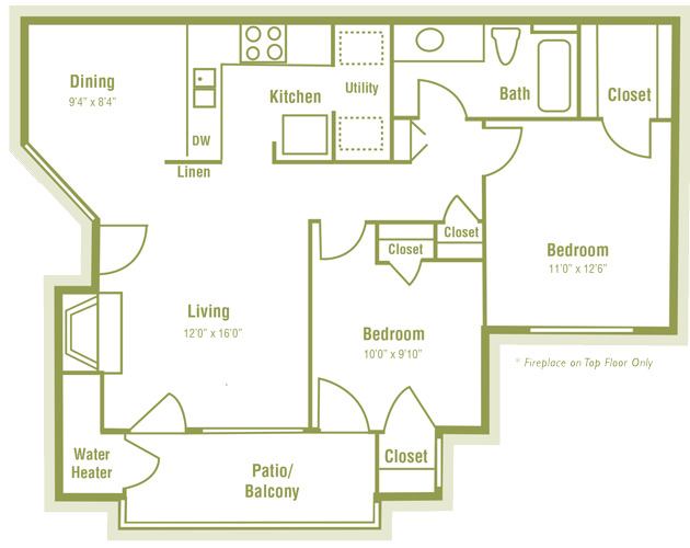 851 sq. ft. C floor plan
