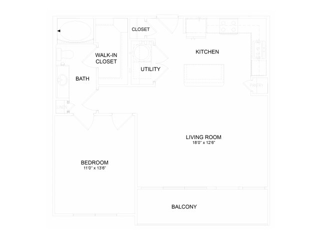 755 sq. ft. A3M floor plan