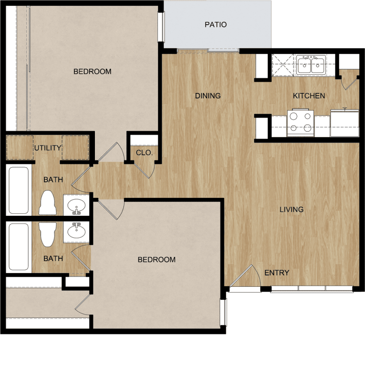 952 sq. ft. floor plan